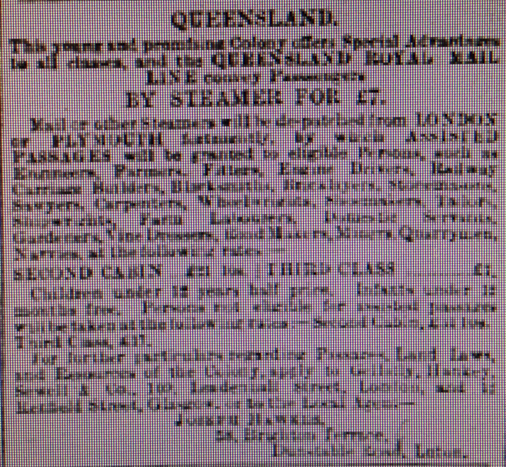 Australia Emigration - 4th April 1885 Luton Reporter