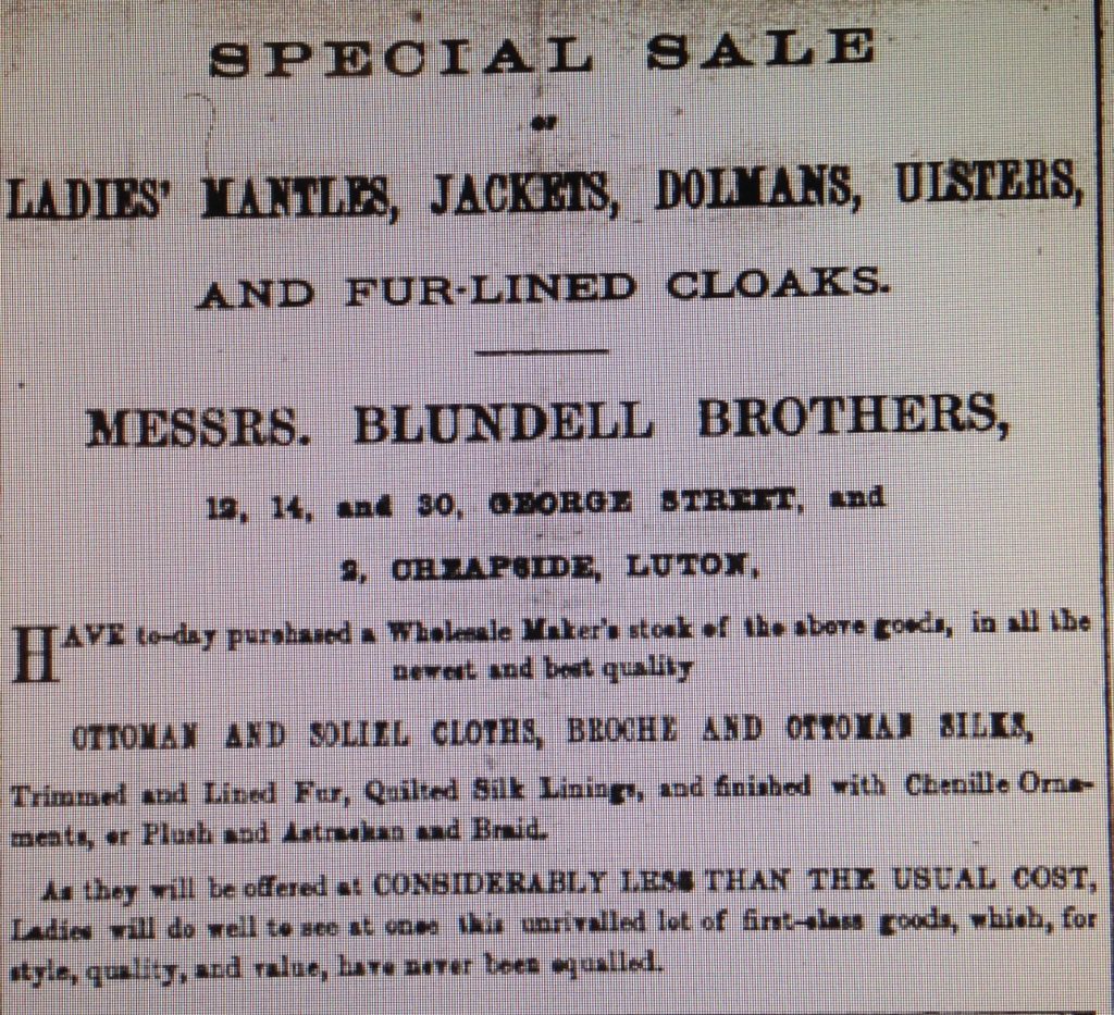Blundell Advert 17t January 1885 Luton Reporter