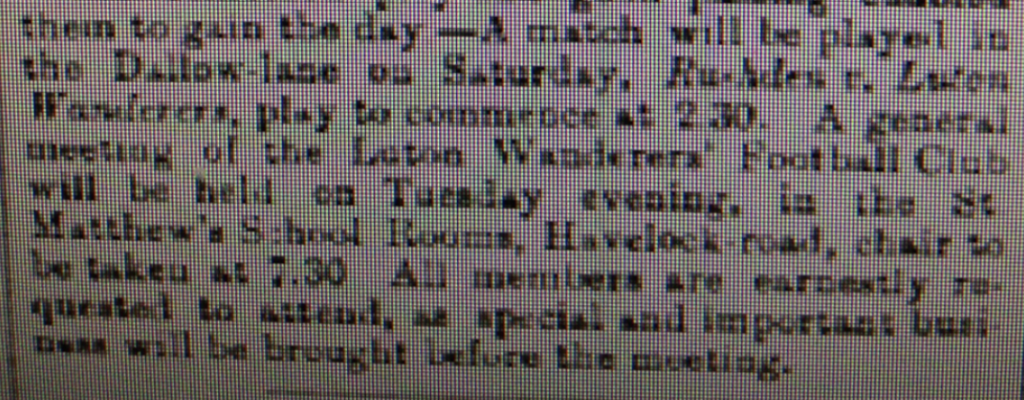 Wanderers ad for 17th January 1885 meeting