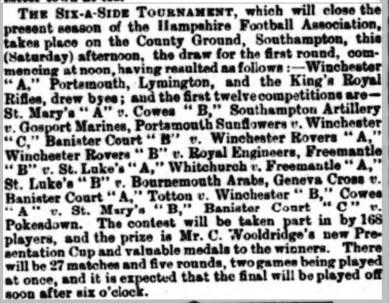 Six-a-side Hants Chronicle 13th April 1889
