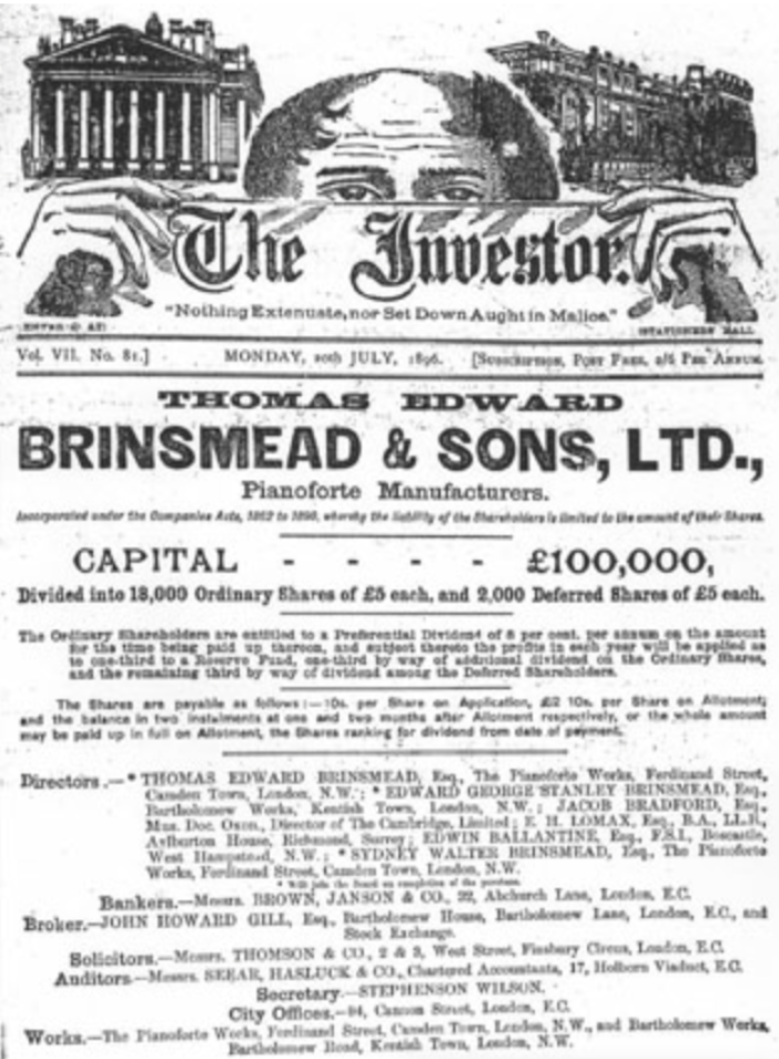 Brinsmead advert July 1896