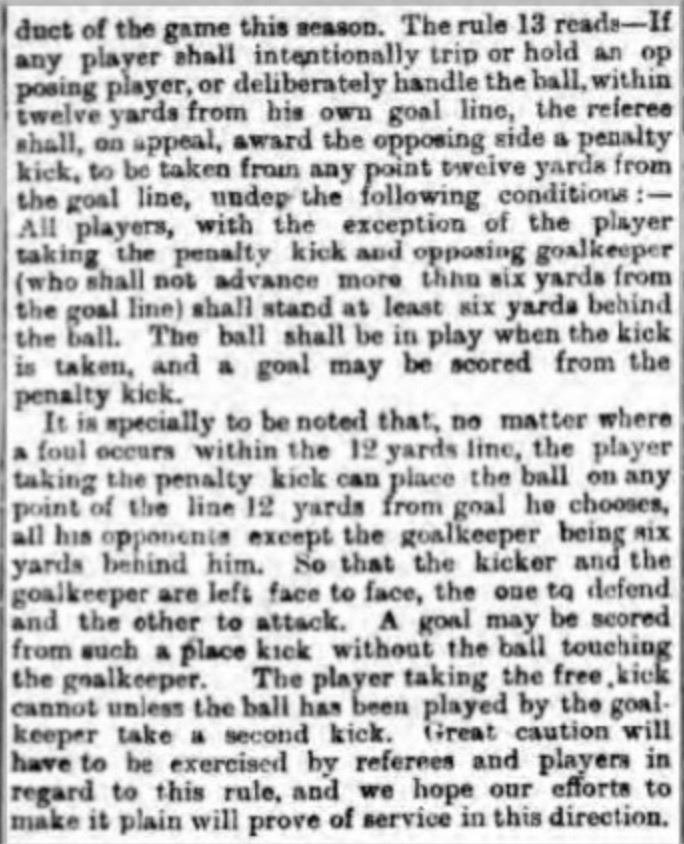Penalty Kick clarification 1891