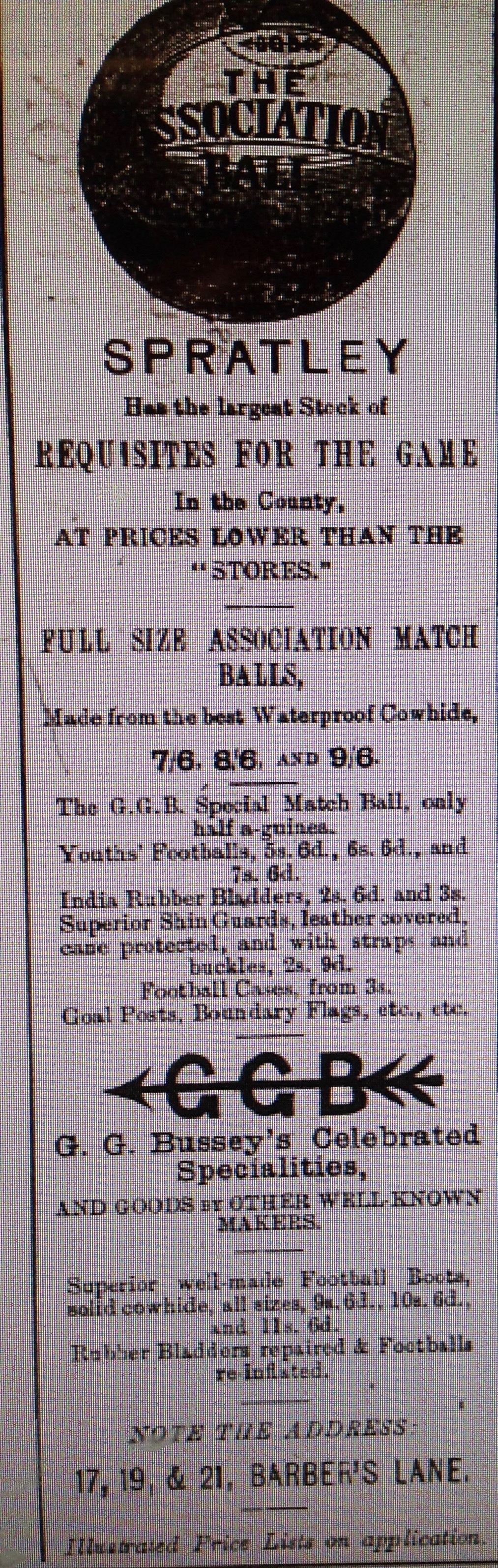Spratley's advert 1886