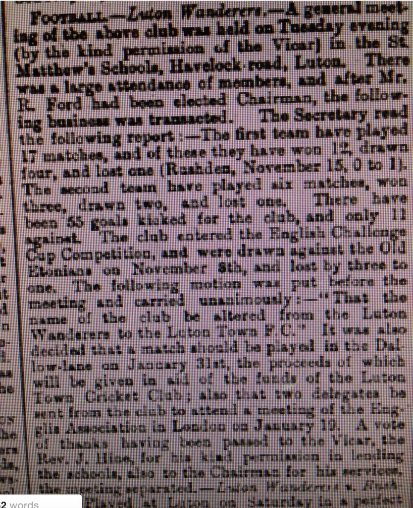 17th January 1885 Wanderers meeting
