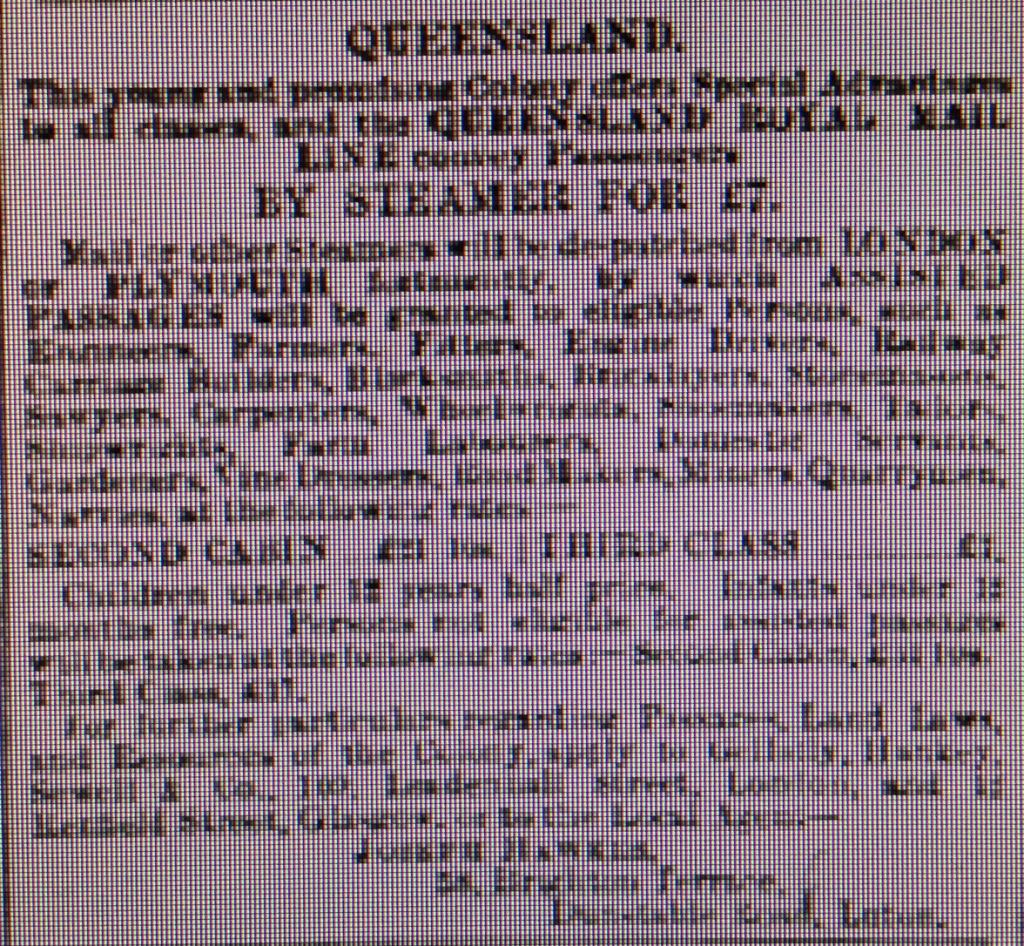 Australia Emigration - 4th April 1885 Luton Reporter