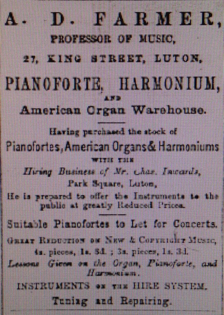 Farmer's advert 4th April 1885 Luton Reporter