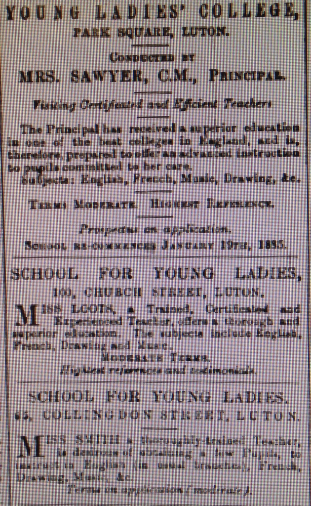 Young Ladies Colleges - 4th April 1885 Luton Reporter