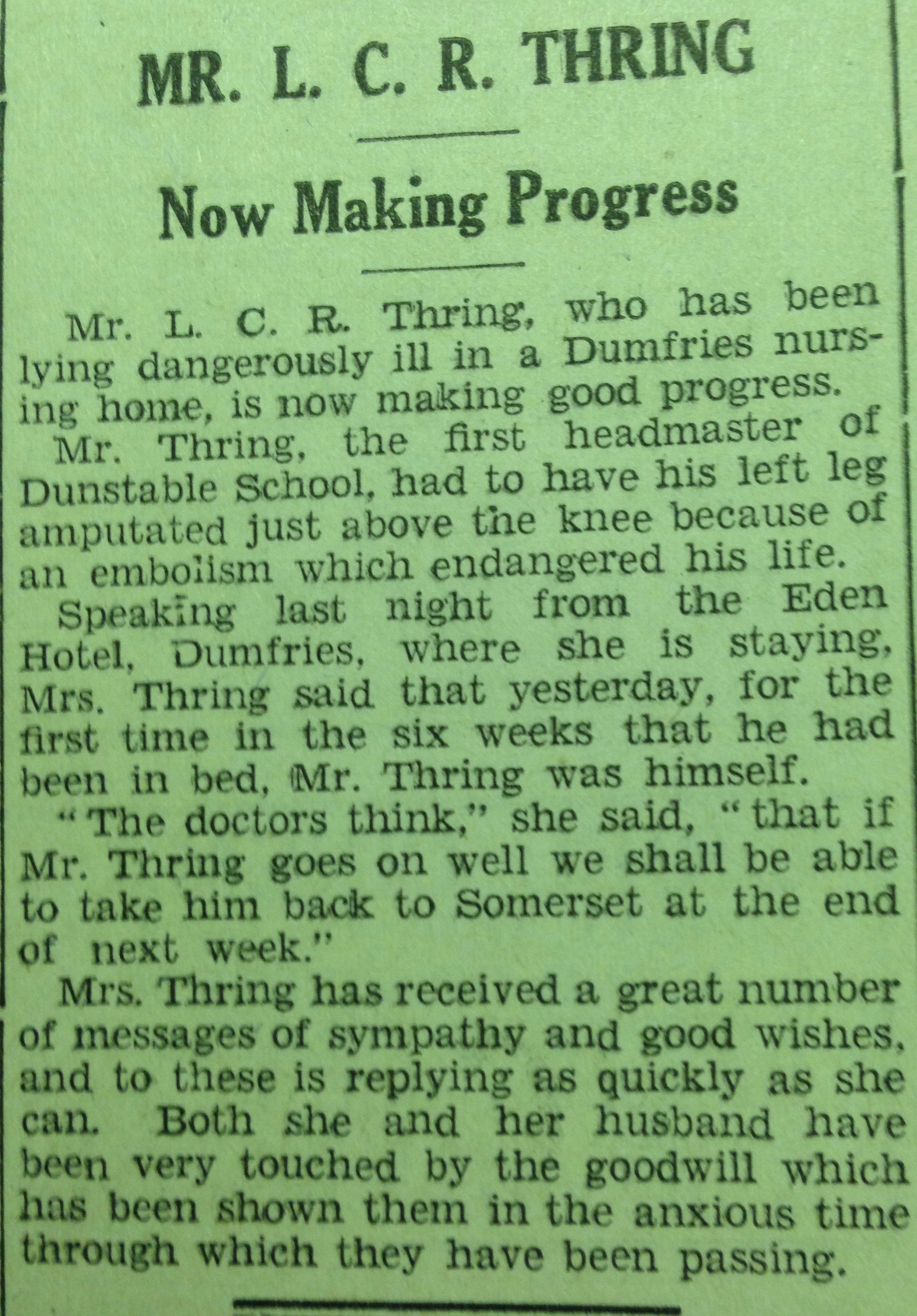 LCR Thring Saturday Telegraph 13th October 1934
