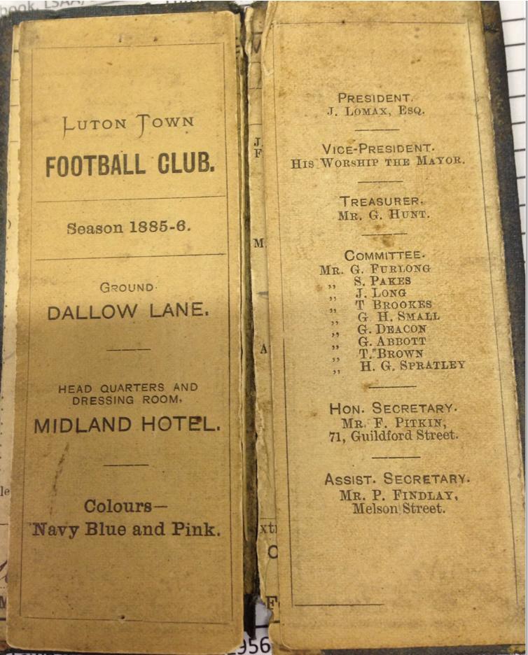 Luton Town fixture card 1885:86 - 1