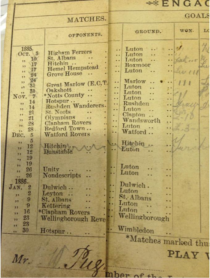 Luton Town fixture card 1885:86 - 2