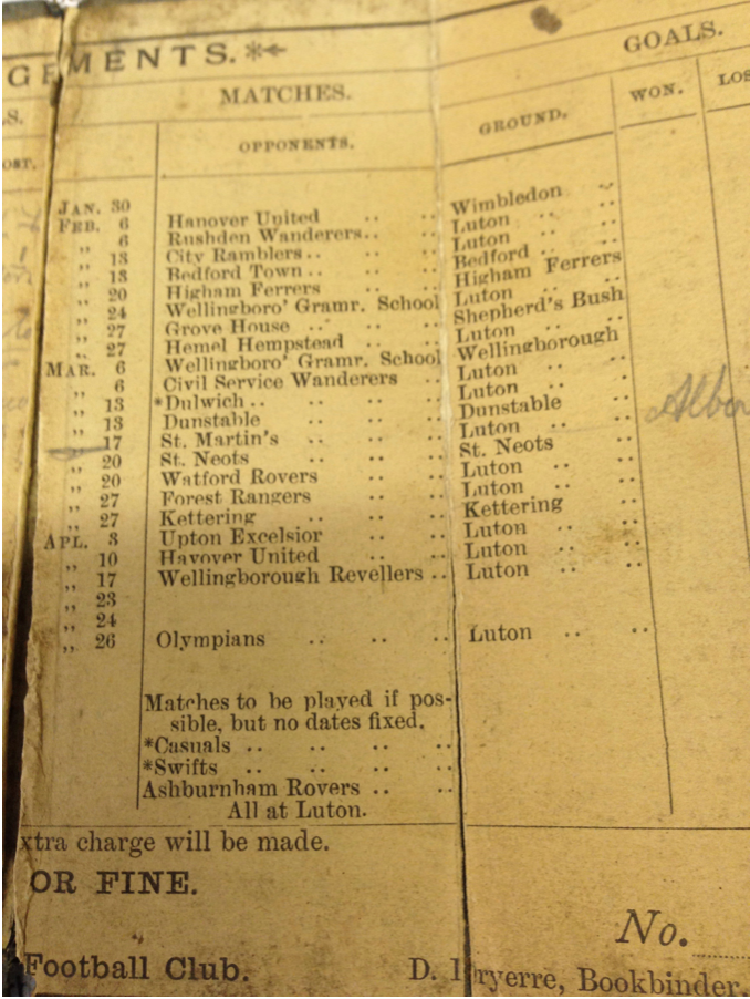 Luton Town fixture card 1885:86 - 3