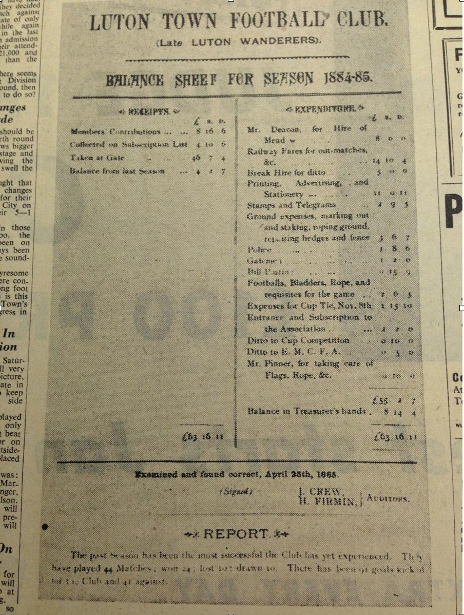 Luton Wanderers accounts 1884:85