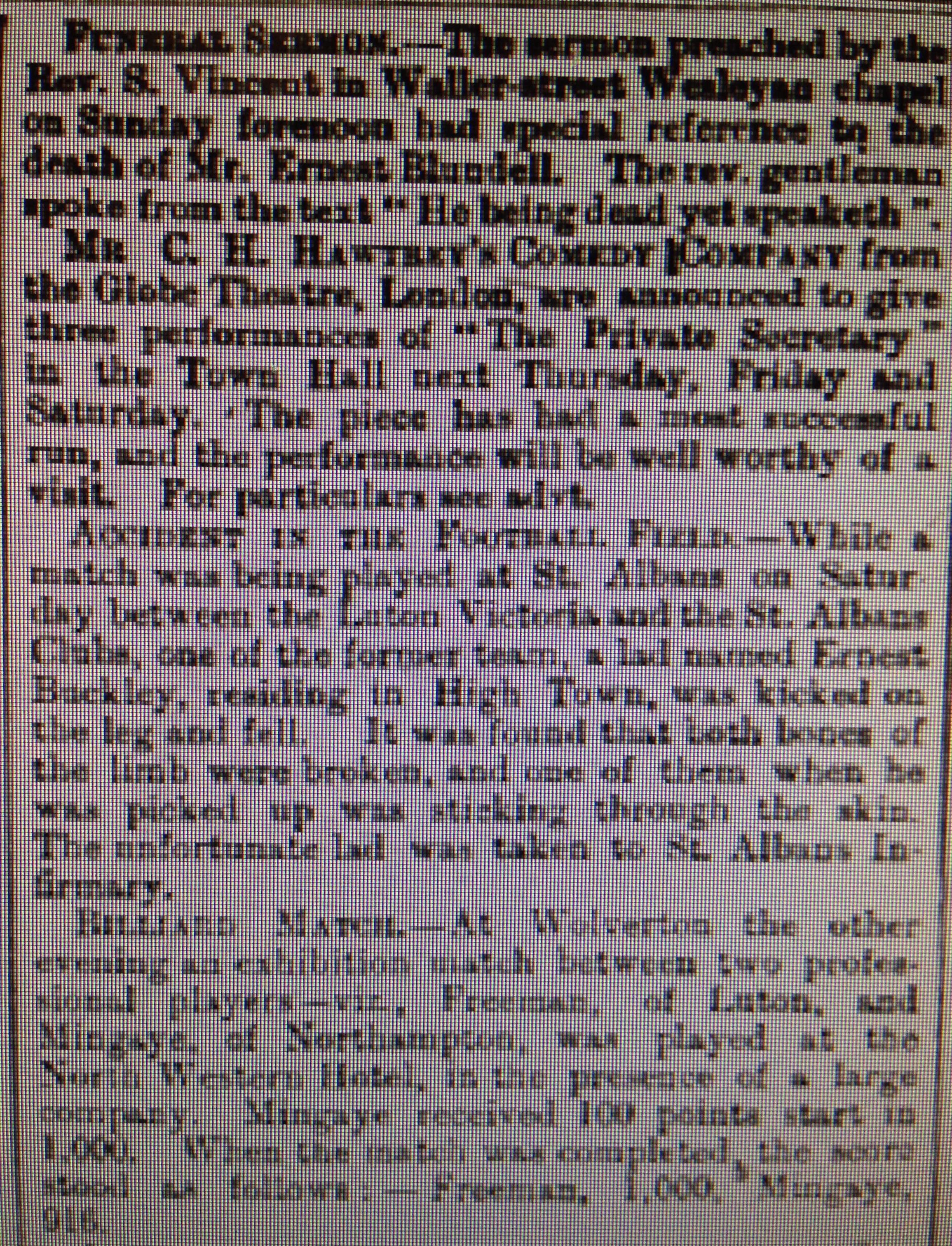 Luton Reporter 1/5/1886