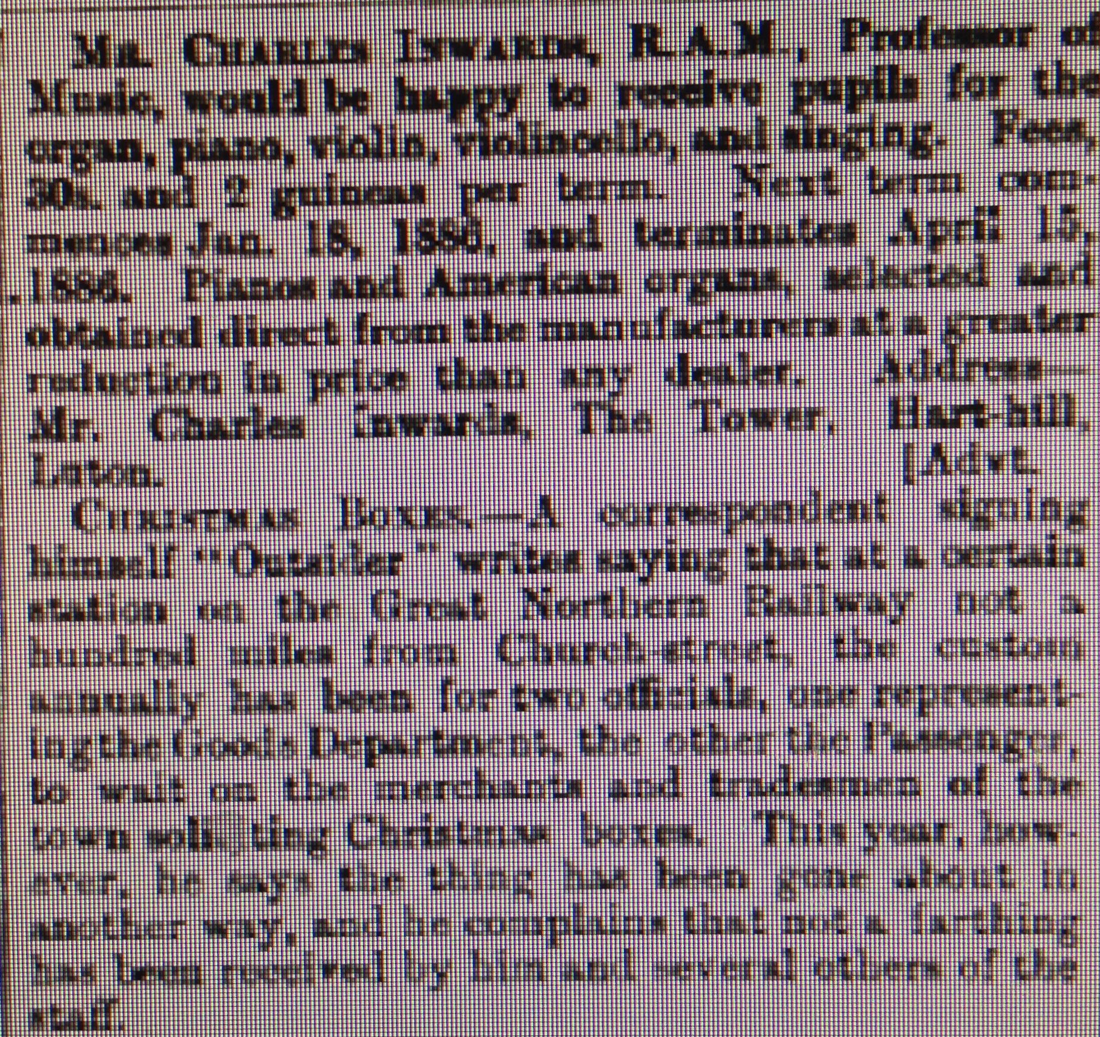 Luton Reporter 30/1/1886