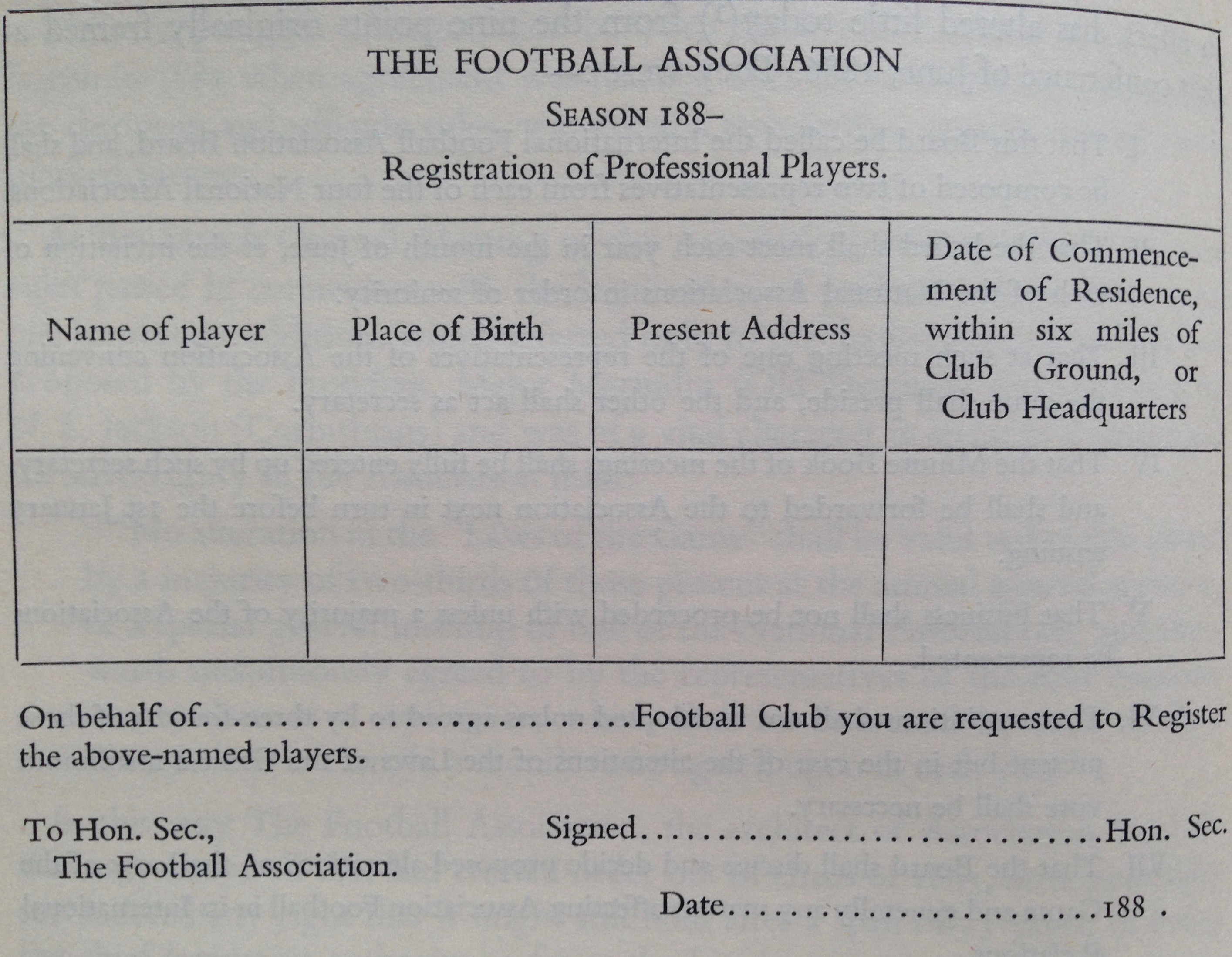 Registration of a Professional player