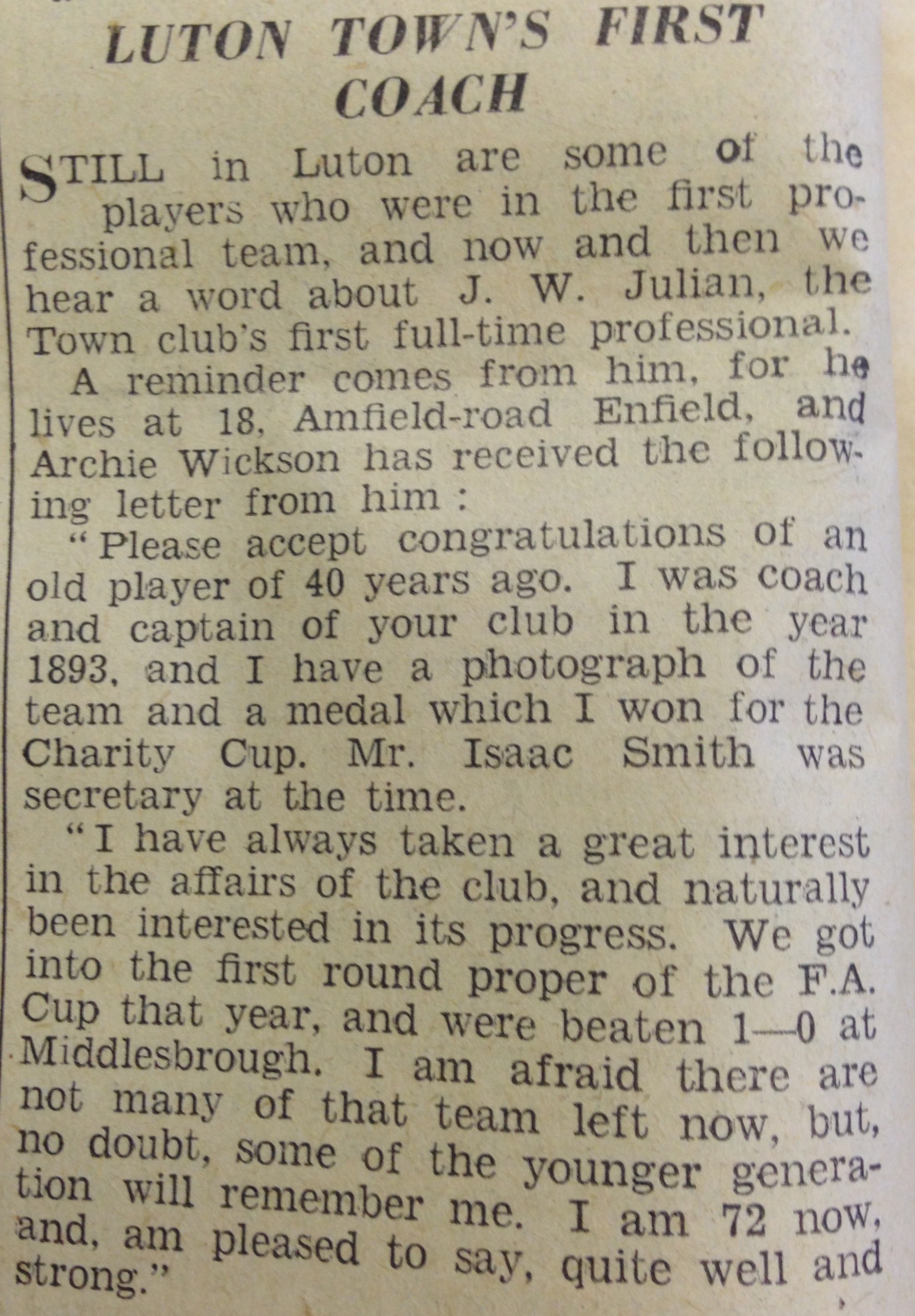 J.W. Julian letter from Luton News of 20th January 1938