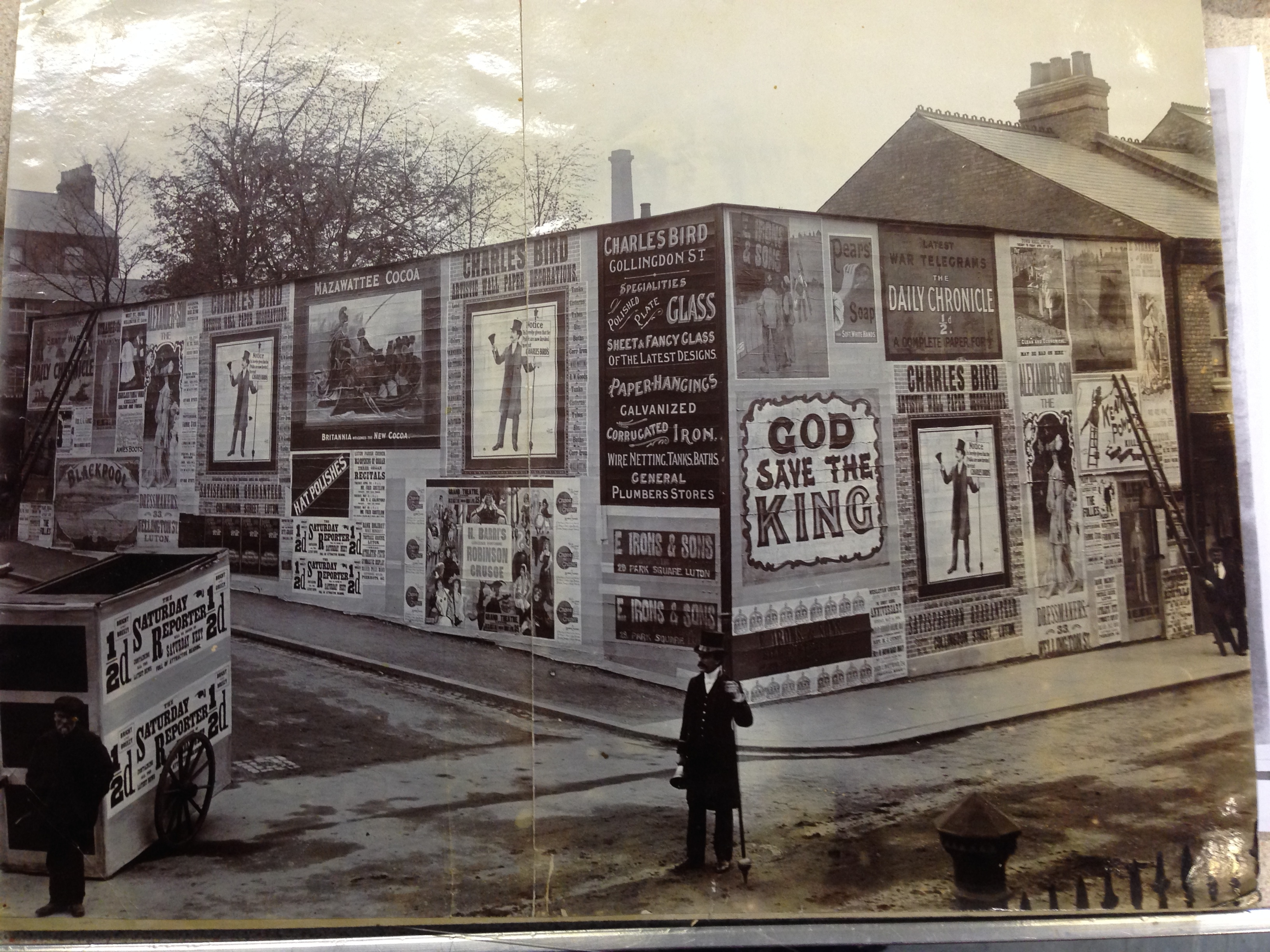 Charles Irons, Town Crier, Billboards and adverts on a cart.