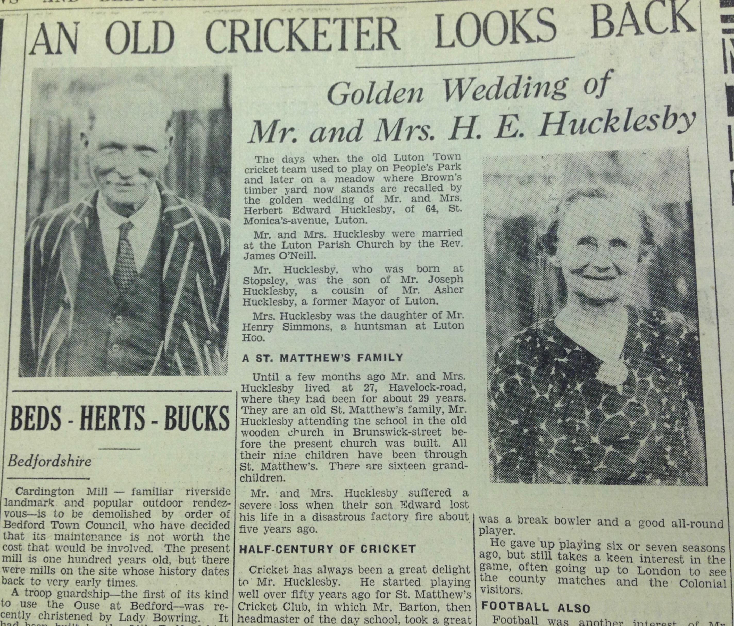 Herbert E Hucklesby Golden Wedding 1936