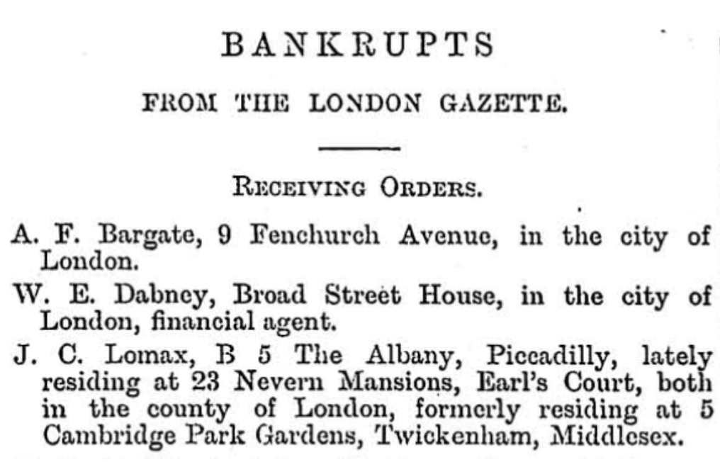 J.C. Lomax Bankruptcy Notice