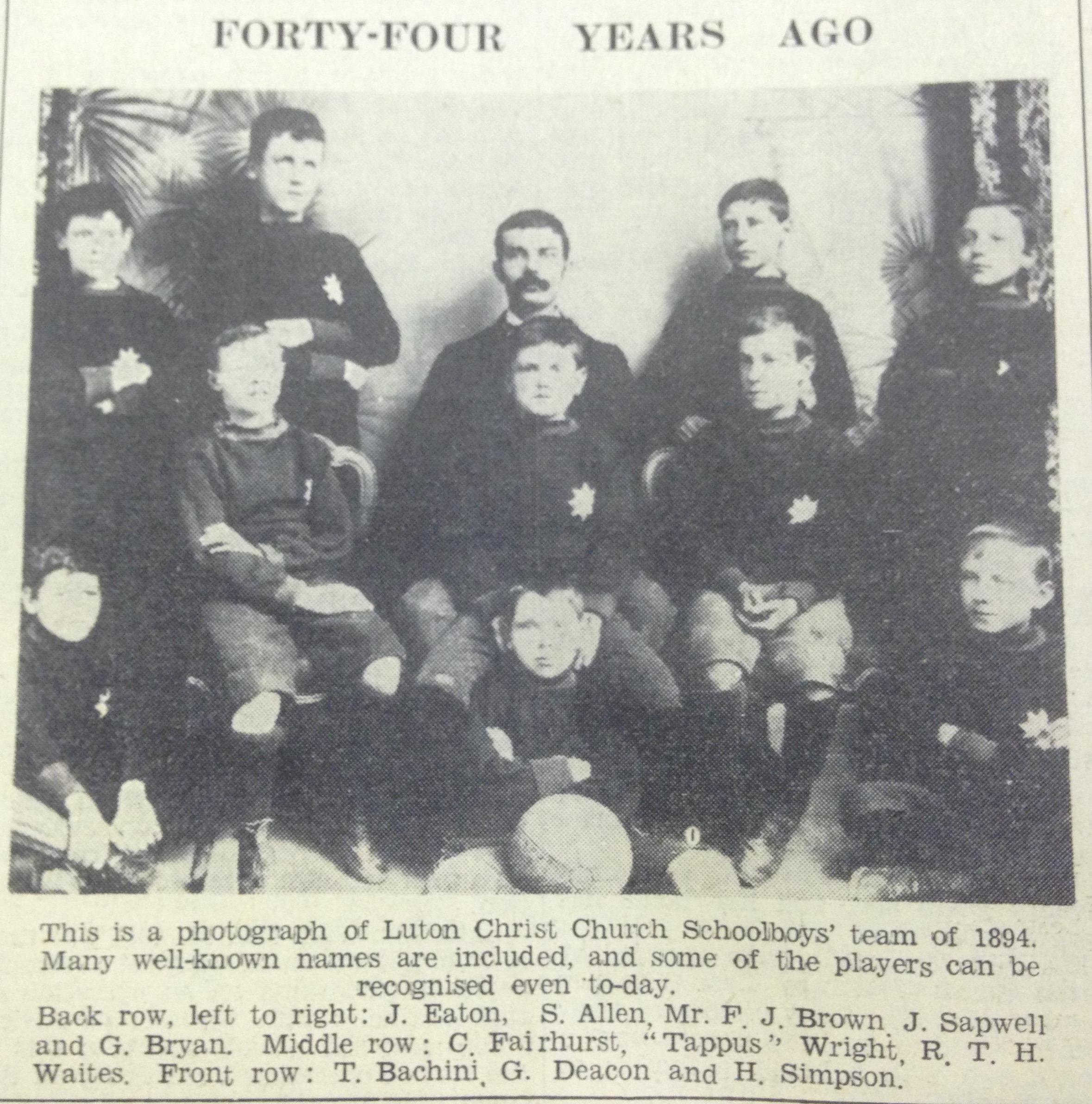 Christ Church Schoolboys, Luton 1894
