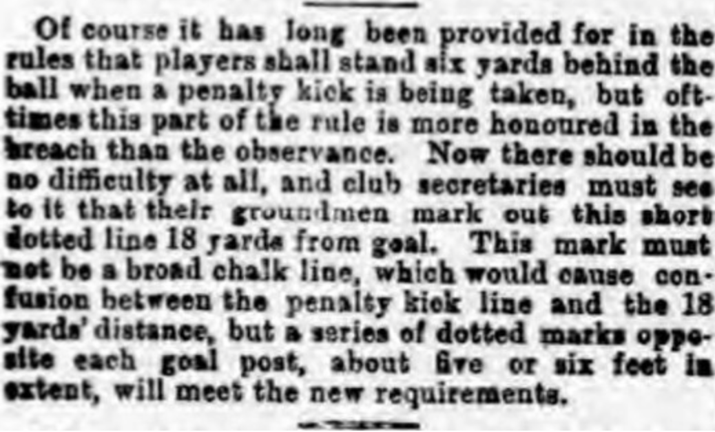 Dotted 18 yard line 1891 article