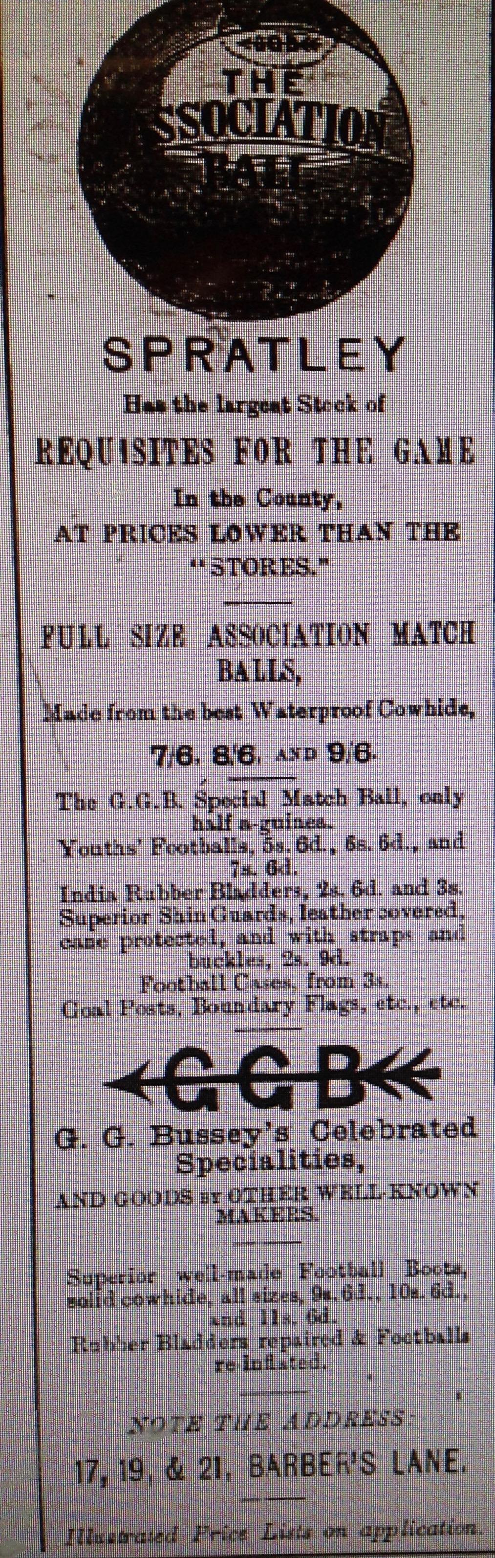 Spratley's advert 1886