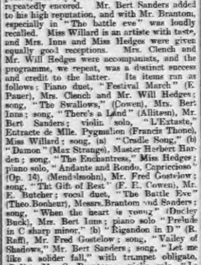 Luton Times 9:3:1900 Leighton Buzzard YMCA concert